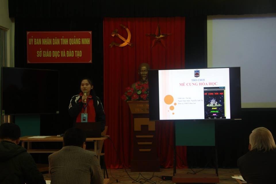 Em Nguyễn Anh Tú thuyết trình tại cuộc thi
